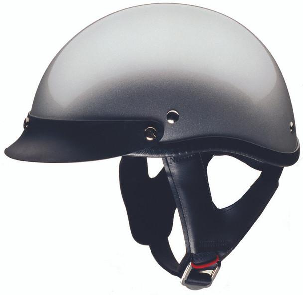 silver DOT motorcycle helmet
