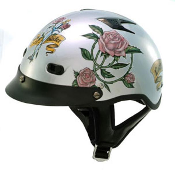 Ladies Silver Rose Motorcycle Helmet
