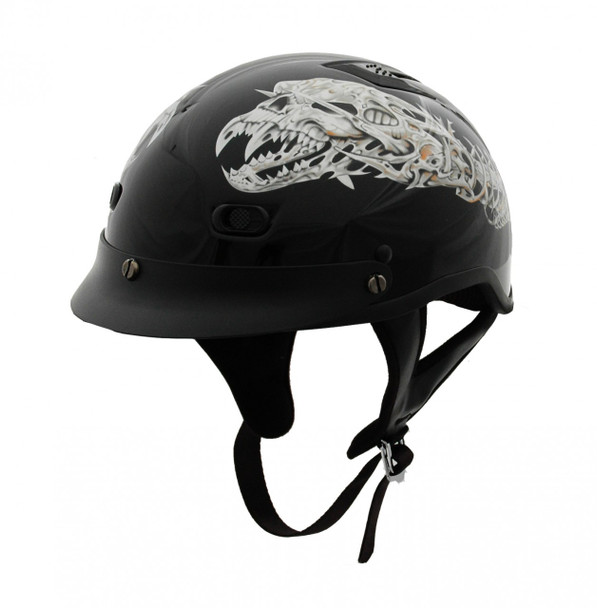 DOT Polo Jockey Alien Motorcycle Helmet