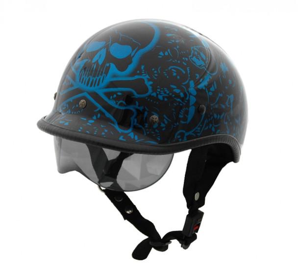 DOT Polo Jockey Bone Yard Blue Motorcycle Helmet