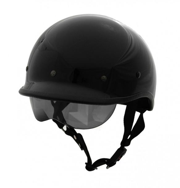 DOT Polo Jockey EX Gloss Black Motorcycle Helmet