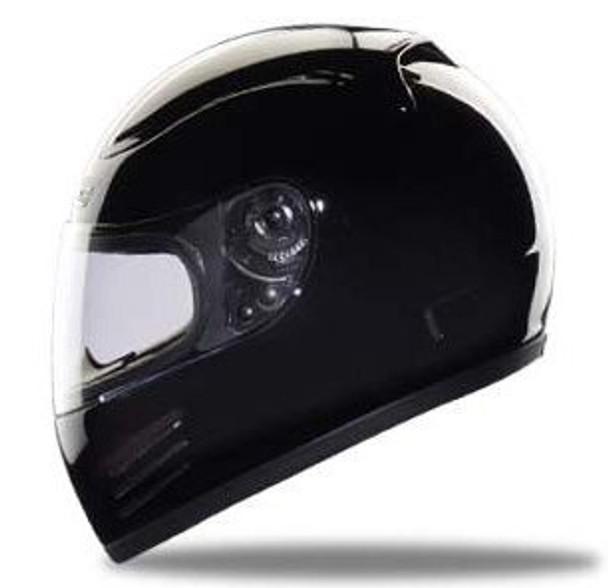 Snell/DOT Full Face Black Motorcycle Helmet