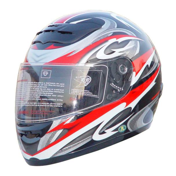 Red full face helmet