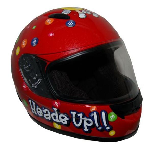DOT Certified Red Kids M&M Full Face Motorcycle Helmet