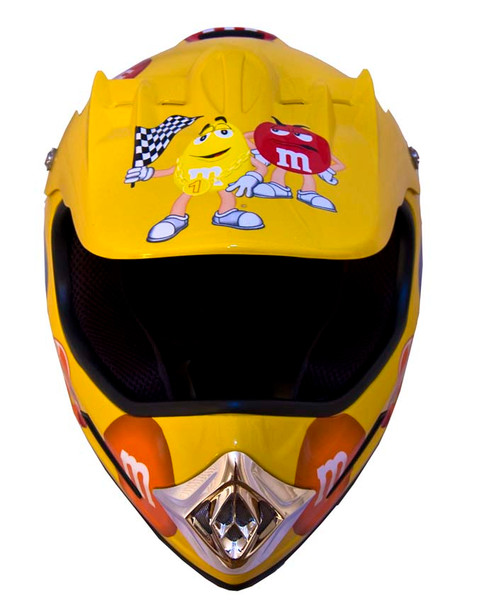 DOT MotoX Motocross Kyle Busch M&M Yellow Motorcycle Helmet