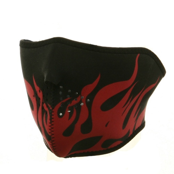 Red Flames Half Neoprene Face Mask