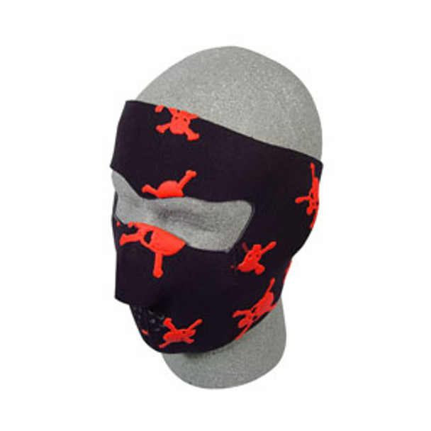 Red Skull Crossbones Neoprene Face Mask