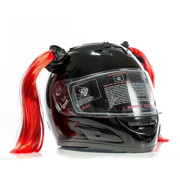 Clown Red Motorcycle Helmet Pigtails