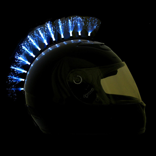 WHITE FIBER OPTIC HELMET MOHAWK