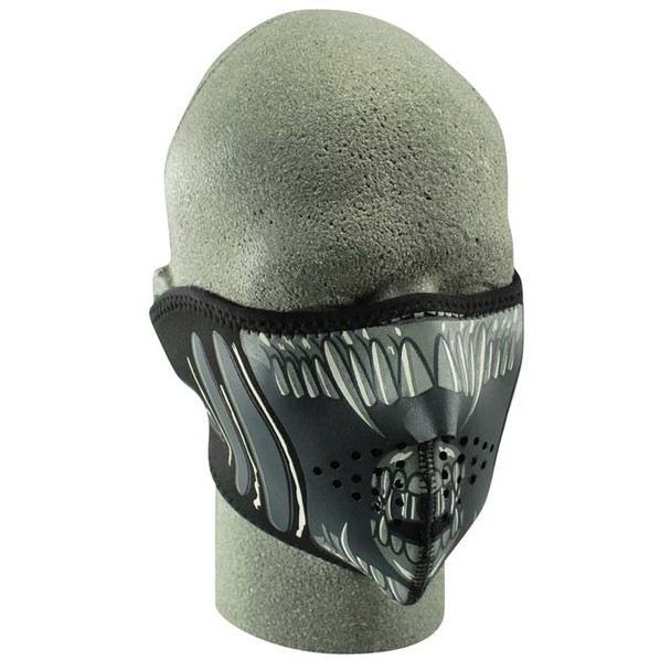 Half Alien Neoprene Face Mask on head