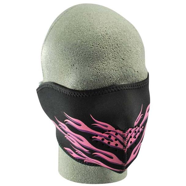 Half Pink/Black Flame Neoprene Face Mask