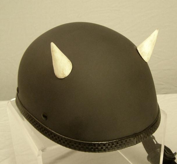 Devil Motorcycle Helmet Horns Small Straight - Bone
