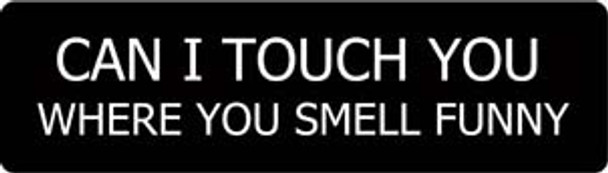 Can I Touch You Where You Smell Funny Motorcycle Helmet Sticker