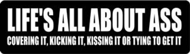 Life's All About Ass Covering It, Kicking It Or Trying To Get It Motorcycle Helmet Sticker