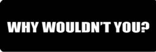 WHY WOULDN'T YOU Motorcycle Helmet Sticker