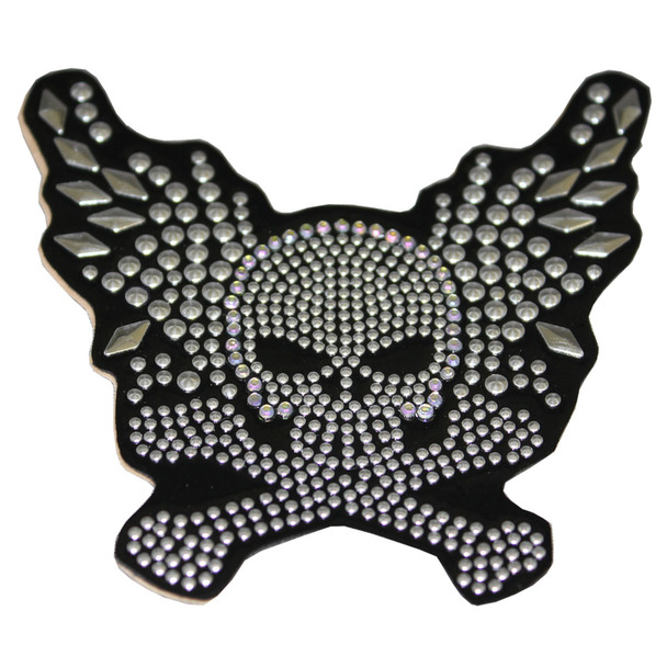 Winged Skull Rhinestone Helmet Patch