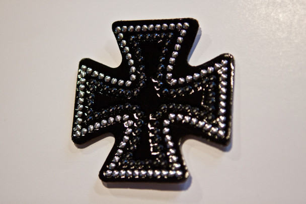 Iron Cross Rhinestone Motorcycle Helmet Patch