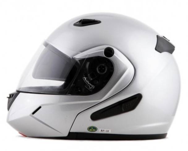 DOT Double Retractable Visor Silver Modular Motorcycle Helmet