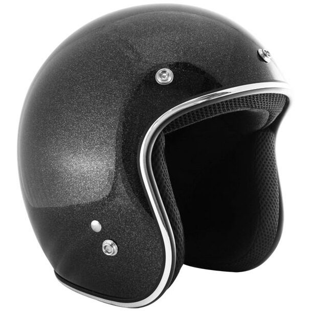 Retro Black Metal Flake Open Face Motorcycle Helmet