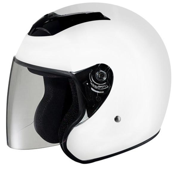 DOT ¾ Shell RK4 White Motorcycle Helmet with removable visor