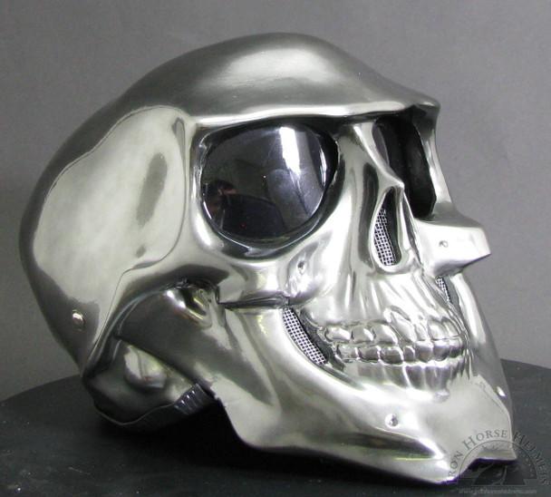chrome skull motorcycle helmet
