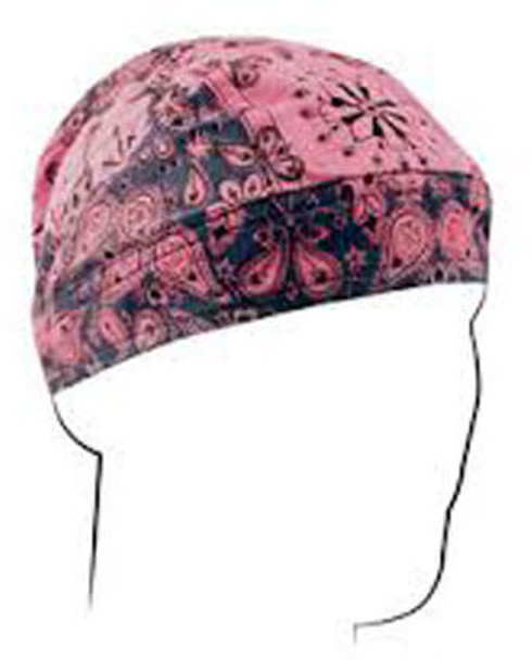 Two-Tone Pink Paisley Flames Do-Rag Flydanna