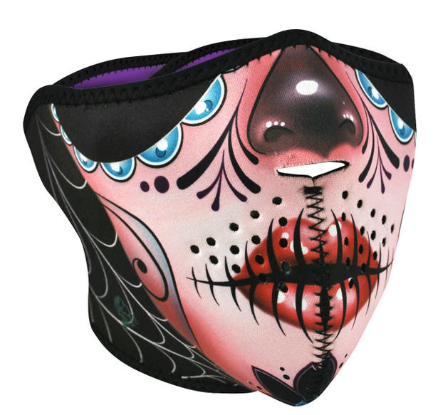 Sugar Skull Neoprene Half  Face Mask