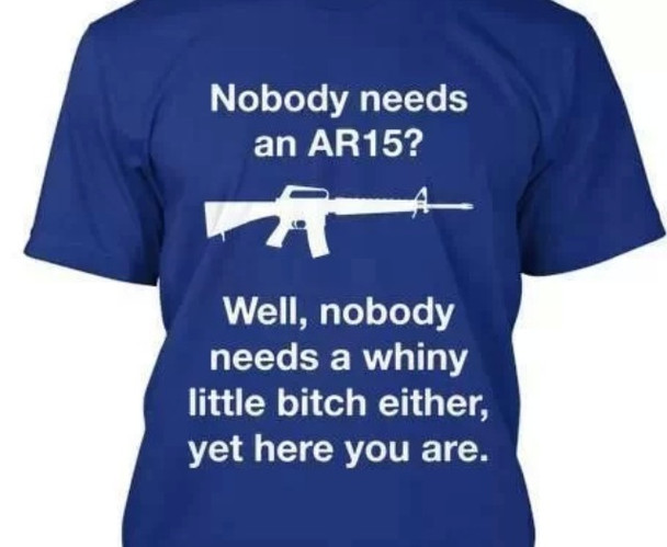 Nobody needs an AR15? Well, nobody needs a whiny little bitch either, yet here you are.