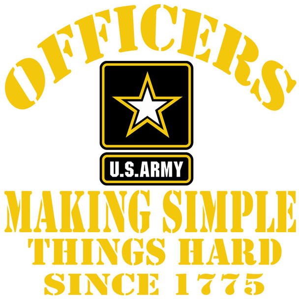 Officers making simple things hard since 1775 Army