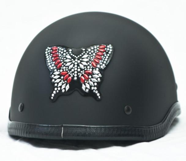 Red Butterfly Rhinestone Helmet Patch