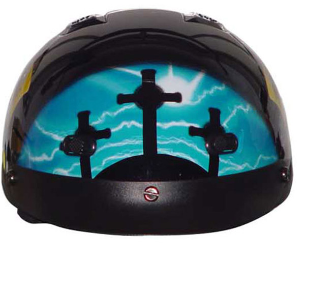 Blue Cross DOT Shorty Motorcycle Helmet front