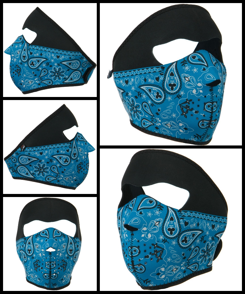 blue motorcycle face mask