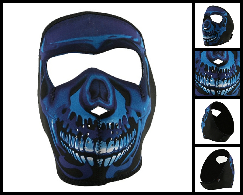 Blue Skull Motorcycle Face Mask