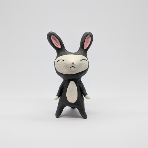 Sleepy Black Rabbit Figurine
