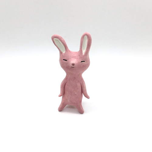 Sleepy Pink Rabbit Figurine