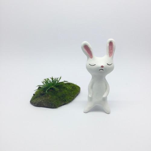 Sleepy White Rabbit Figurine