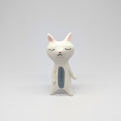 Sleepy White Cat Figurine