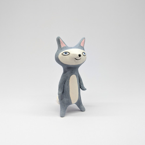 Awake Grey Cat Figurine