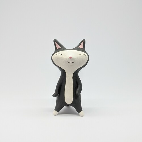 Smiley Black Cat Figurine