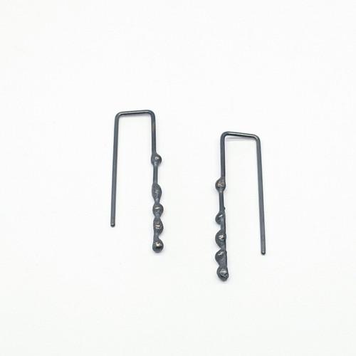 Oxidised Sterling Silver Seaweed Drop Earrings
