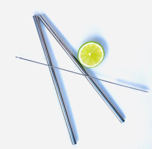 2 Stainless Steel Straight Straws
