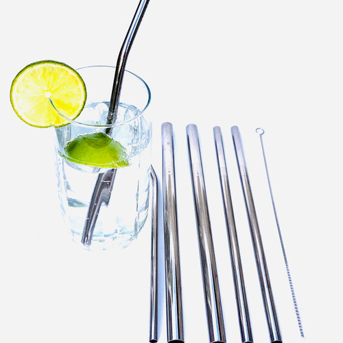 6 Mixed Stainless Steel Metal Straws