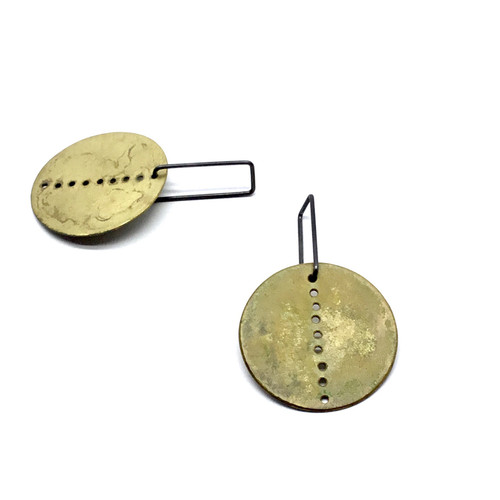 Brass Shield Drop Earrings