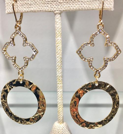 Hammered gold and rhinestone chandelier earring at Creme de la Creme Lisle Illinois