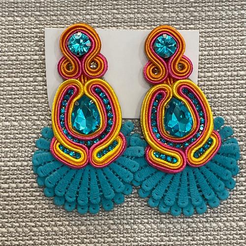 Fun colorful earrings  with blue at Creme de la Creme Downtown Lisle