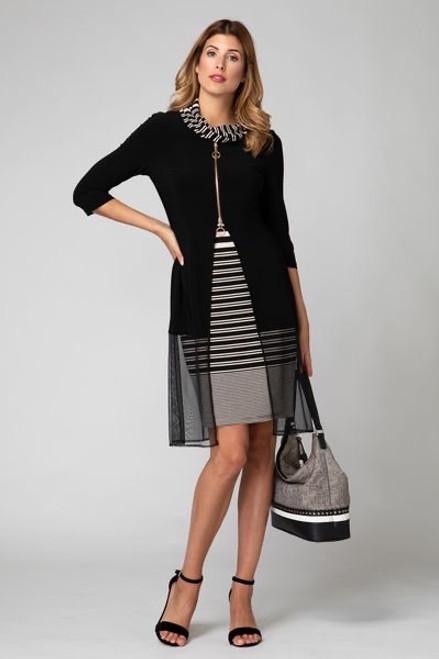 Black and white striped dress with Chiffon overlay Joseph Ribkoff