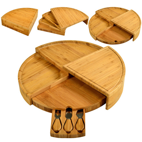 Florence bamboo cheeseboard set with cheese knives and tiered serving sections