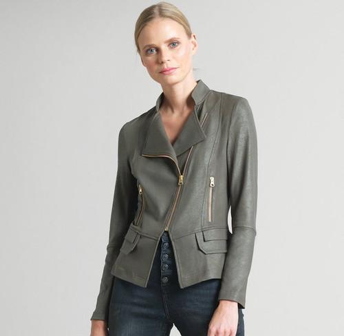 Liquid leather olive jacket