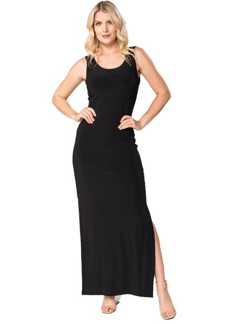 Black maxi stretch tank dress