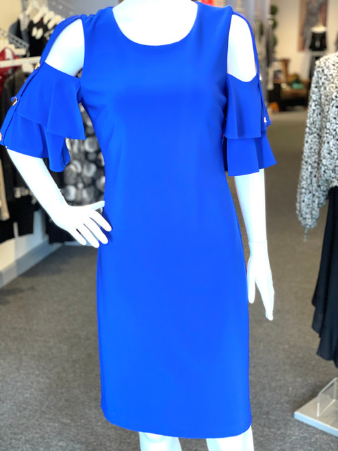 Sapphire blue dress cutout sleeves